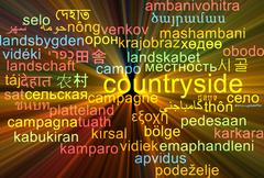 Countryside multilanguage wordcloud background concept glowing - stock illustration