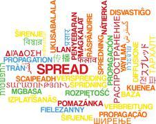 Spread multilanguage wordcloud background concept - stock illustration