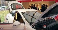 Tesla test drive hybrid car Stock Footage