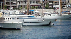 Yachts in the harbor Stock Footage