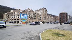 Restaurant Moscow and Gorky Gorod apartments in Esto Sadok - stock photo