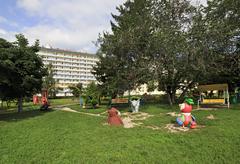 Playground at the Sanatorium Belokuriha - stock photo