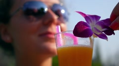 Healthy Young Woman with Fresh Fruit Juice in Summer Stock Footage