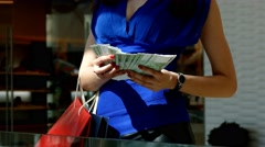 Woman hands holding hundred Euro bills  Stock Footage