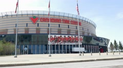 Ottawa Senetors-Canadian Tire Centre- Wide Tilt up to Ontario Canada flags Stock Footage