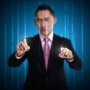 Man Touch Binary Code Stock Photos
