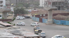 Diverted traffic at a Metro construction site in Gurgaon, Haryana Stock Footage