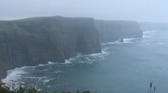 Cliffs of Moher, raining, stable - Ireland Stock Footage