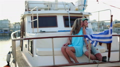 A romantic trip on a ship of the newlyweds Stock Footage
