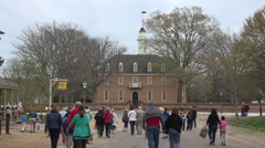 Colonial Williamsburg Virginia historic church and tourist 4K 031 Stock Footage