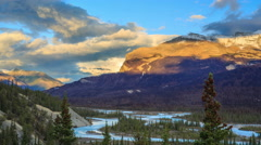 Saskatchewan River, Icefields Parkway, Alberta, Canada Stock Footage