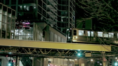 Chicago L Train at Night - stock footage