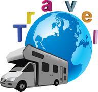 Four-wheel vehicle camper Stock Illustration