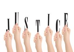 Human hands that highlight the word justice symbol - stock illustration