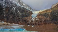 Melt-water lake below Mount Edith Cavell, Jasper National Park, Alberta, Canada Stock Footage