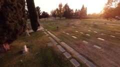 Aerial. Flying over the American cemetery. The setting sun Stock Footage