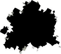 Pixel black hole shape in white surface Stock Illustration
