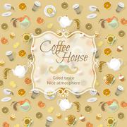 Coffee shop label on food and drink background Stock Illustration