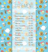 Cafe menu template with food and drink prices Stock Illustration
