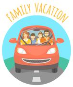 Family vacation trip by car Stock Illustration