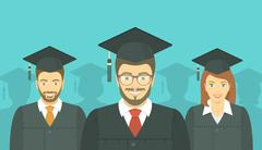 Young people graduated in graduation gowns and mortarboards - stock illustration