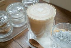 Free pour hot coffee latte Stock Photos