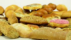 Bakery goods (pastry and cakes) - white background studio Stock Footage
