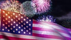 USA flag and fireworks loop, for Fourth of July American Independence Day etc. - stock footage