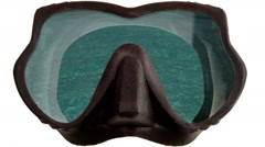 The tropical landscape is reflected in mask glasses for a snorkeling (diving) Stock Footage