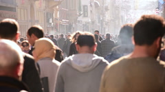Istanbul city, anonymous crowded commuters people walking on city center Stock Footage