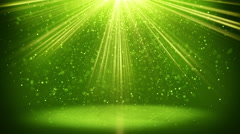 Green light beams and particles loopable background 4k (4096x2304) Stock Footage