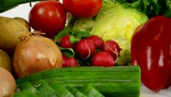 Vegetable - white background studio Stock Footage