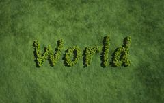 world create by tree with grass background - stock illustration