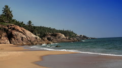 The seashore with stones and palm trees. India. Kerala. Stock Footage