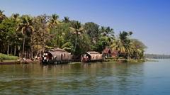 India. Houseboat on Kerala backwaters. - stock footage
