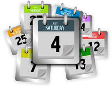 Stock Illustration of Bunch of coloured calendar pages