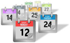 Coloured calendar pages standing of the desk - stock illustration
