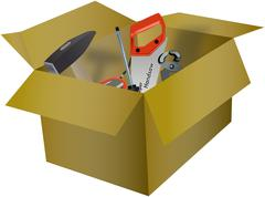 Workshop tools in the cardboard box Stock Illustration