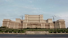 Palace of Parliament Bucharest in the morning Stock Footage