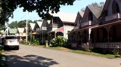 Oak Bluffs gingerbread cottage community Stock Footage