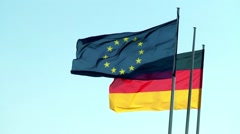 Flags Germany and European Union Stock Footage