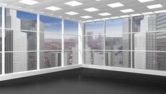 Interior of an empty office/apartment with window and cityscape view Stock Illustration