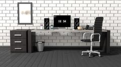 Interior of a modern office with a white brick wall - stock illustration