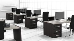 Interior of a modern office with multiple working spaces Stock Illustration
