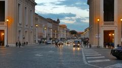 Via della Conciliazione, Evening. Rome, Italy Stock Footage