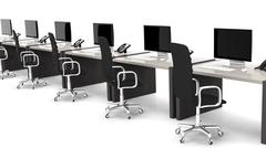 Office desks with equipment and black chairs on white background Stock Illustration