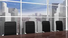 Interior of a modern office meeting room with window and cityscape view close - stock illustration