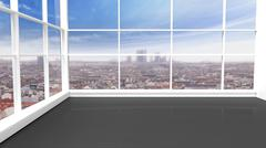 Interior of an empty office/apartment with window and cityscape view - stock illustration