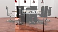 Interior of a modern office meeting room with crystal doors Stock Illustration
