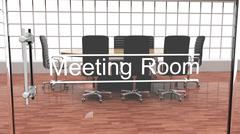 Interior of a modern office meeting room outside crystal door view Stock Illustration